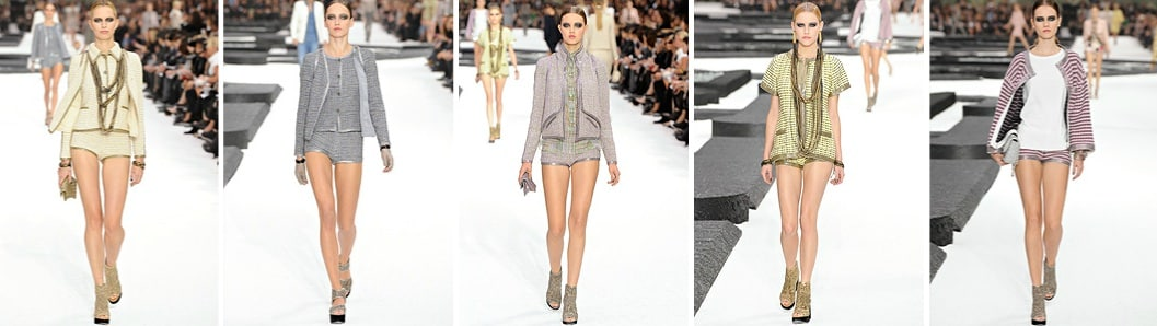 chanel giacche in tweed e shorts