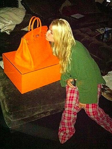 Birkin Hermes arancione per Jessica Simpson