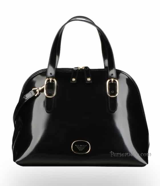 Borsa Emporio Armani autunno inverno 2011 2012 Baby Tote Bag nera fibbie