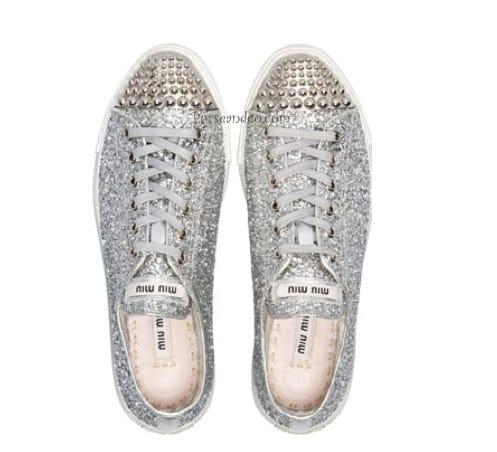 Miu Miu sneakers glitter e borchie
