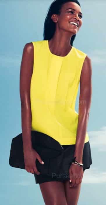 H&M abbigliamento primavera estate 2012 abito giallo con pochette