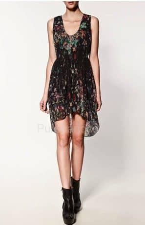 Zara abbigliamento catalogo primavera estate 2012 - Vestito stampato combinato con orlo