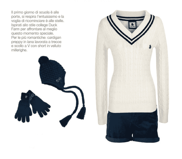 Duck Farm 2012 2013: shorts, maglione, guanti, cappello