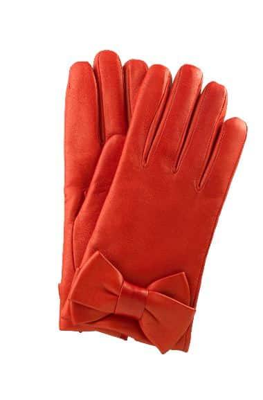 guanti in pelle rossi