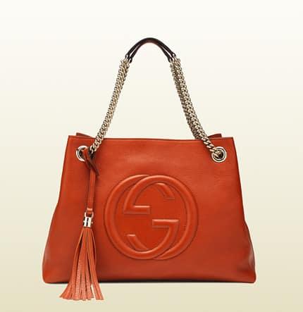 borsa shopping a spalla soho in pelle arancio 1250 euro