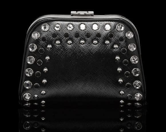 prada satchel saffiano - prada pochette nera in tela e pelle