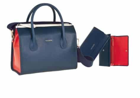 Lacoste borsa Boston in pelle intrecciata e piquet bicolore