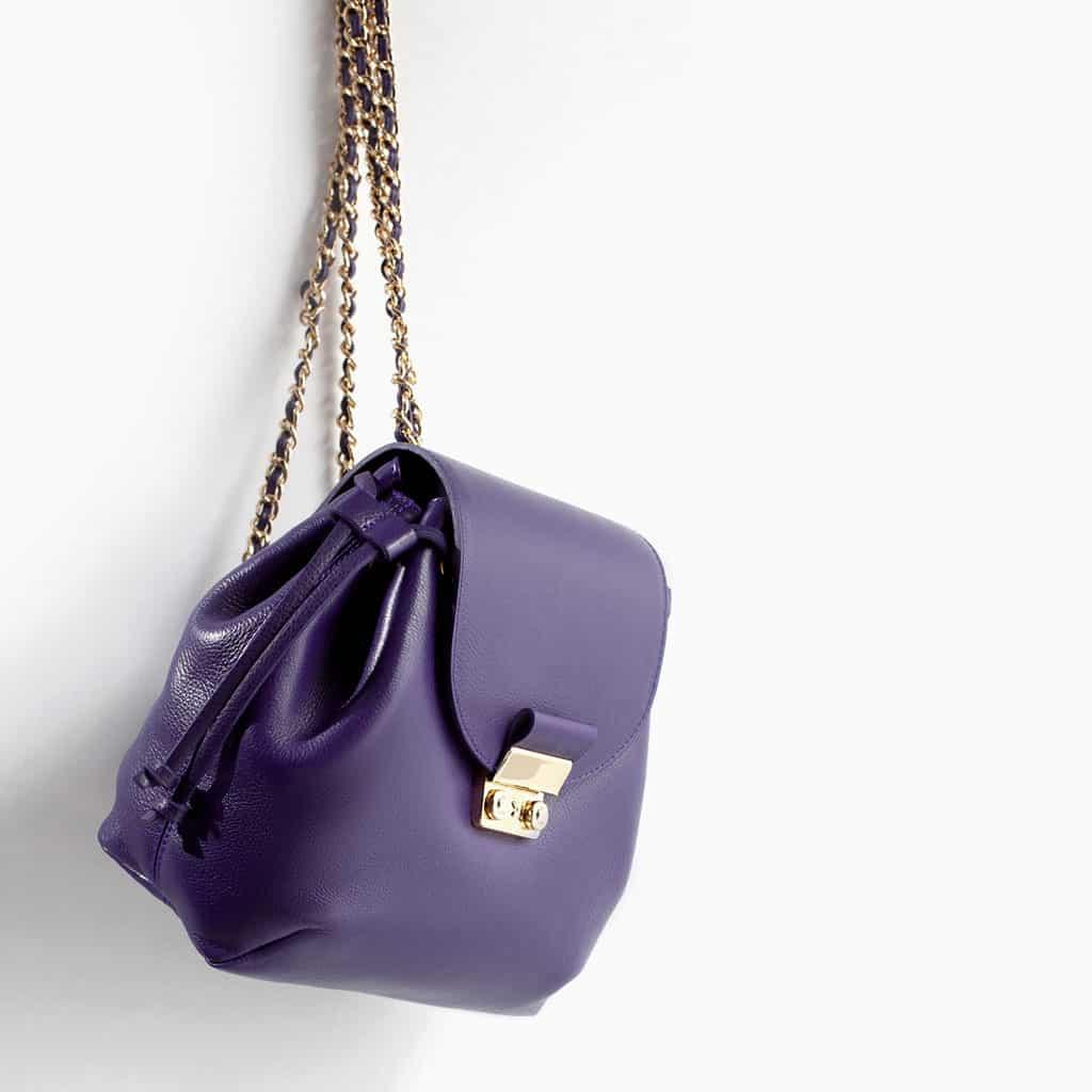 Zara zaino in pelle chiusura metalo viola 89.95 euro
