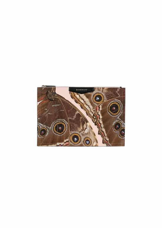 large coated canvas Antigona pouch with butterfly print