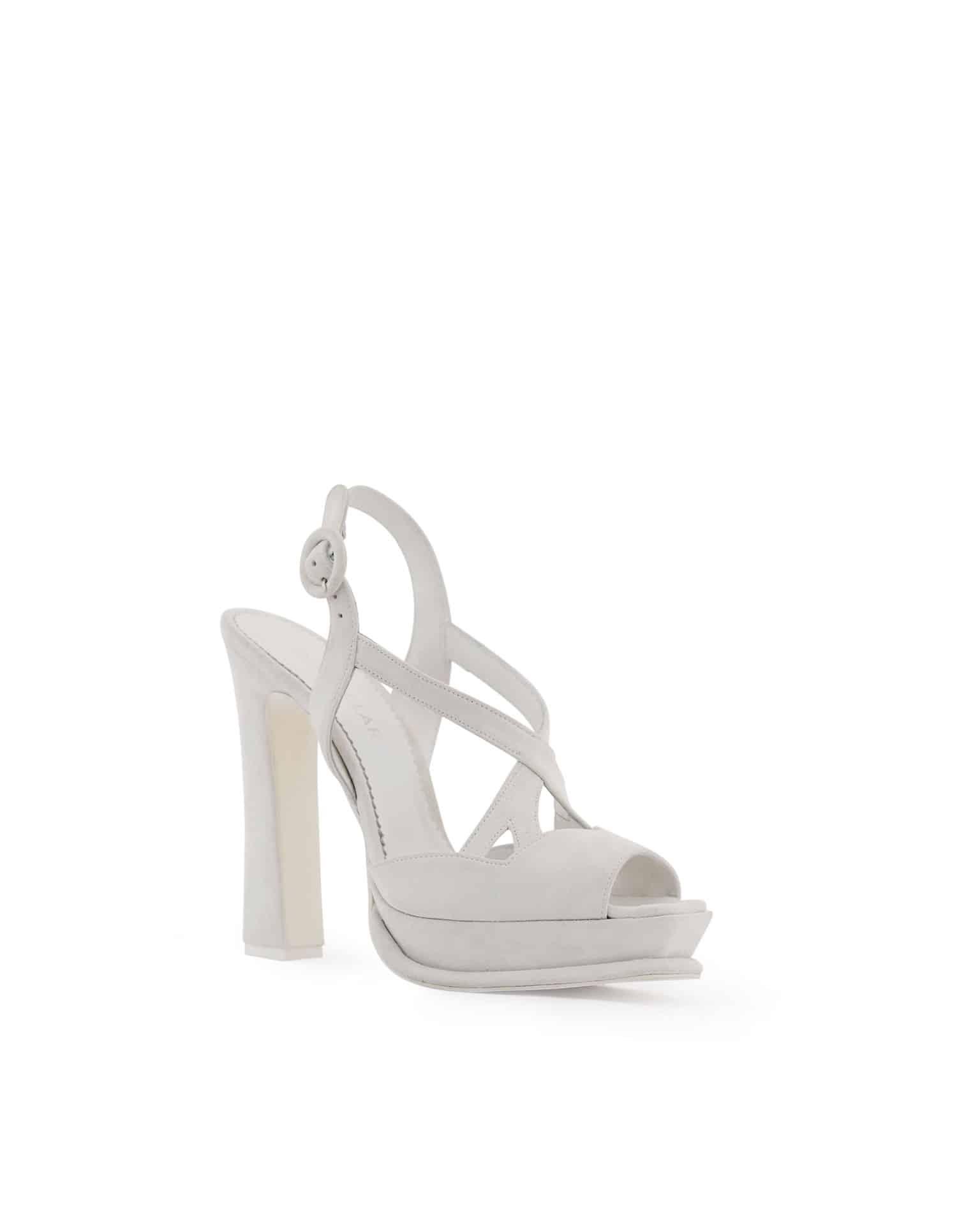 Rosa Clara sandalo plateau e tacco largo con stringhe