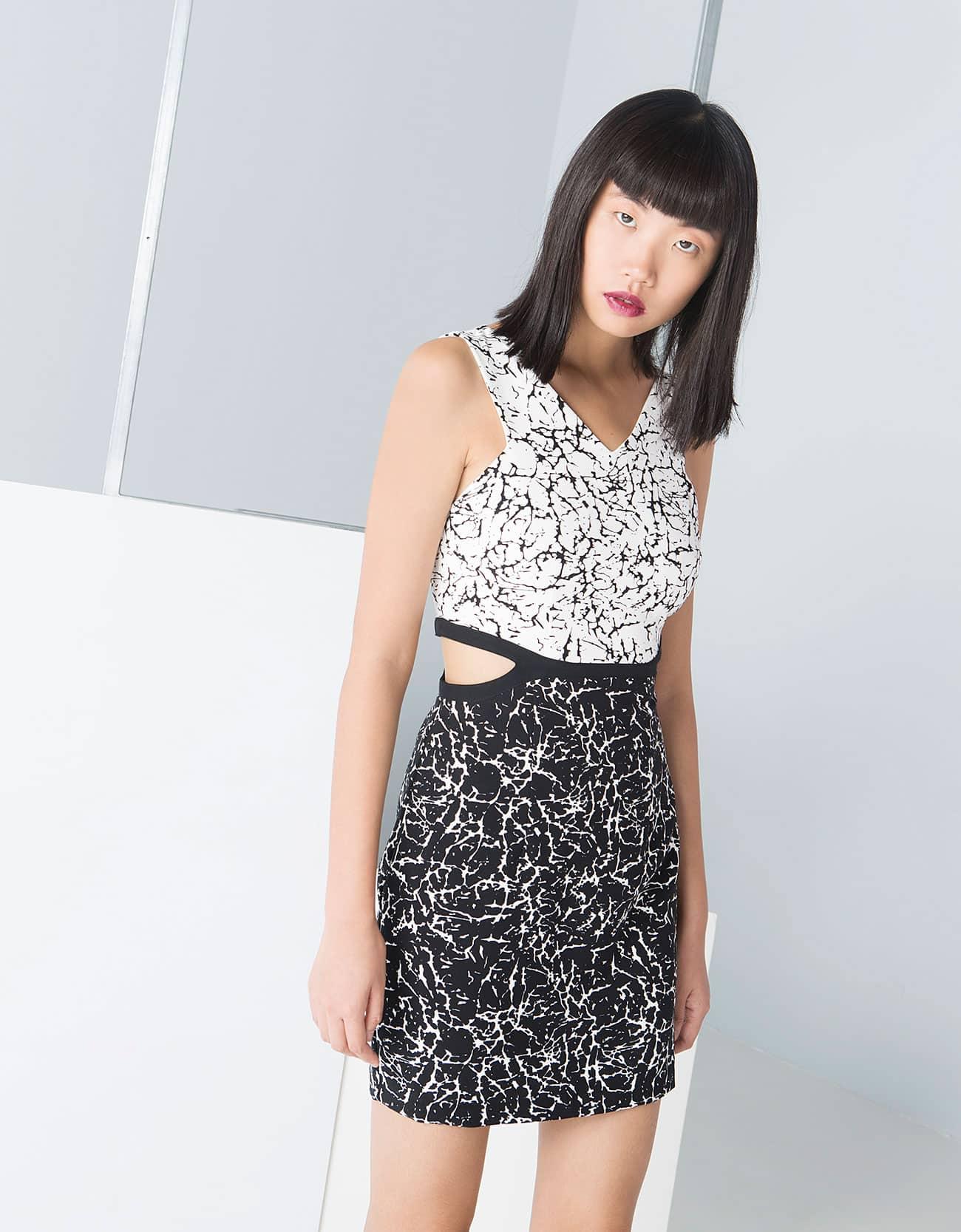 Bershka vestito black and white con aperture laterali 35.99 euro