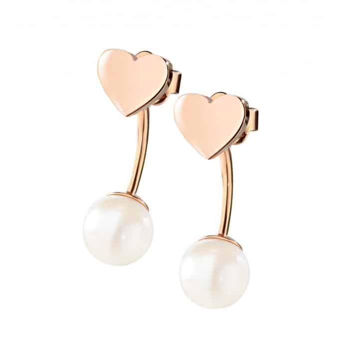 Morellato orecchini Chicche acciaio perle e pvd oro rosa con cuori 54.00 euro