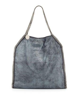 Stella McCartney Falabella Large Tote Bag Metallic Navy 1420.00 euro