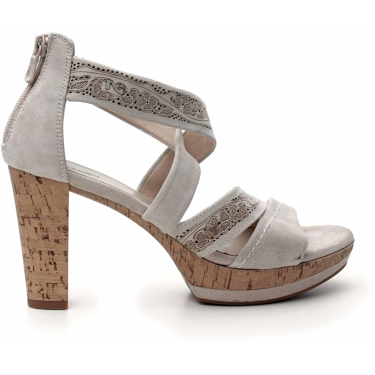 Nero Giardini sandalo tacco camoscio color ivory